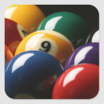 Close Up of Pool Balls Square Sticker