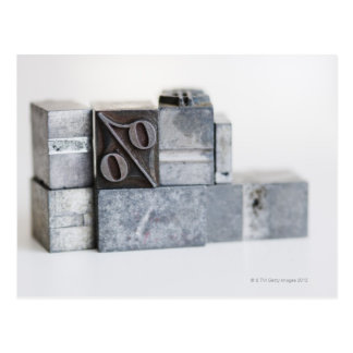Close up of printing blocks with percentage sign postcard