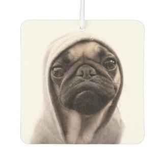Close up of pug wearing hoodie. air freshener