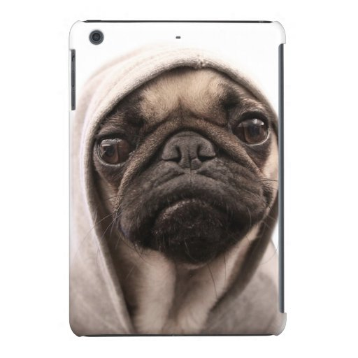 Close up of pug wearing hoodie. iPad mini retina case