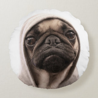 Close up of pug wearing hoodie. round pillow