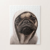 Close up of pug wearing hoodie. puzzle