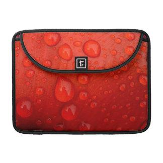 Close-up of raindrops on tulip petal MacBook pro sleeve