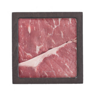 Close-up of raw steak gift box