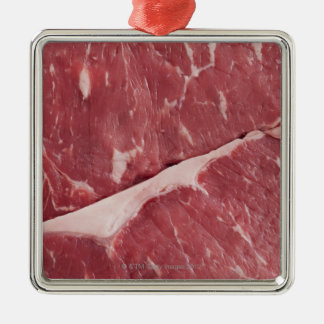 Close-up of raw steak square metal christmas ornament