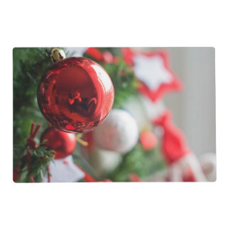 Close up of red ball on Christmas tree Placemat