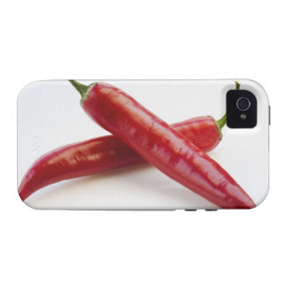 Close up of red chili peppers on white case for the iPhone 4
