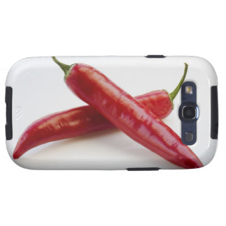 Close up of red chili peppers on white galaxy SIII cases