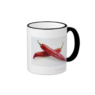 Close up of red chili peppers ringer mug
