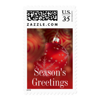 Close up of red Christmas ornaments Postage