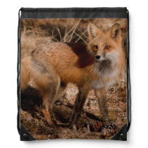 Close-up of red fox drawstring backpack