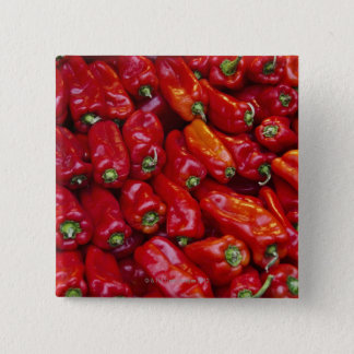 Close up of red peppers button