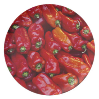 Close up of red peppers plate