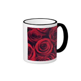 Close up of red rose flowers. ringer coffee mug