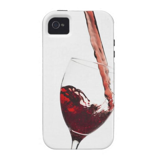 Close up of red wine being poured into glass on case for the iPhone 4