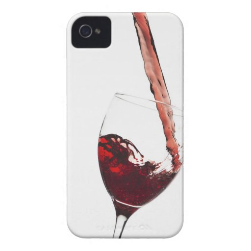 Close up of red wine being poured into glass on iPhone 4 Case-Mate case