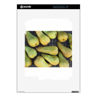 Close-up of ripe pears in box decals for the iPad 2