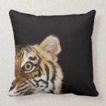 Close up of roaring tiger's face pillow