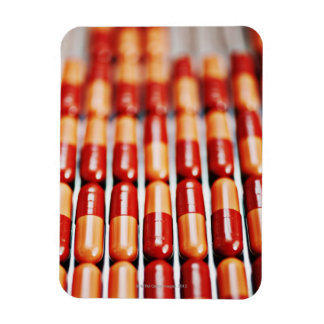 Close up of rows of pill capsules rectangular photo magnet