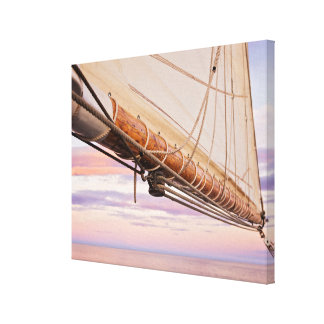 Close-Up Of Sail And Ropes | Maine, Camden Canvas Print