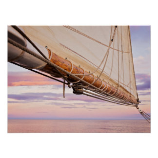 Close-Up Of Sail And Ropes | Maine, Camden Poster