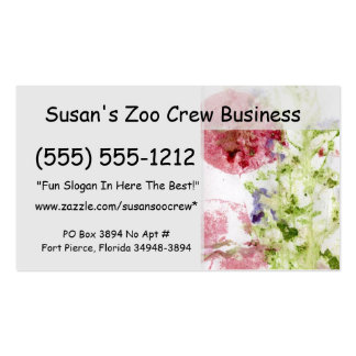 Close up of smashed flowers purple green red business card templates