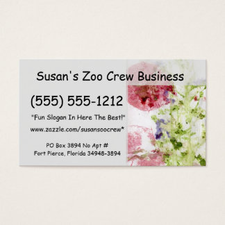 Close up of smashed flowers purple green red business card
