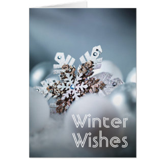 Close up of snowflake Christmas ornament Card