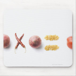 Close-up of spices arranged in mathematical mouse pad