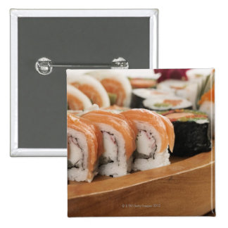 Close-up of sushi in a platter 2 inch square button