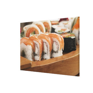 Close-up of sushi in a platter canvas print
