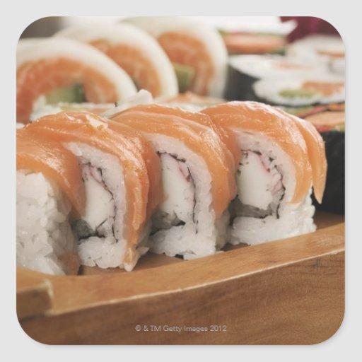 Close-up of sushi in a platter square sticker