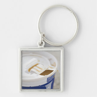 Close up of take out coffee keychain