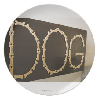 Close-up of text DOG made with dog biscuits on a Dinner Plate