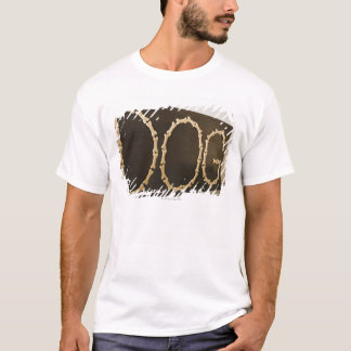 Close-up of text DOG made with dog biscuits on a T-Shirt