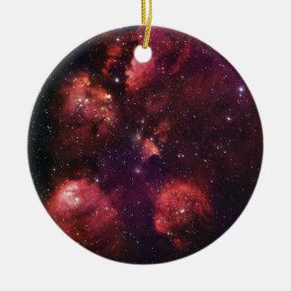 Close Up of the Cat's Paw Nebula NGC 6334 Gum 64 Ceramic Ornament