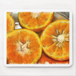 Close up of the cut section of some oranges mouse pad
