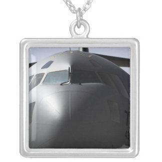 Close-up of the front of a C-17 Globemaster III Square Pendant Necklace