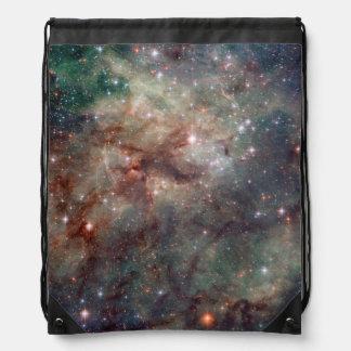 Close-up of the Tarantula Nebula Drawstring Backpack