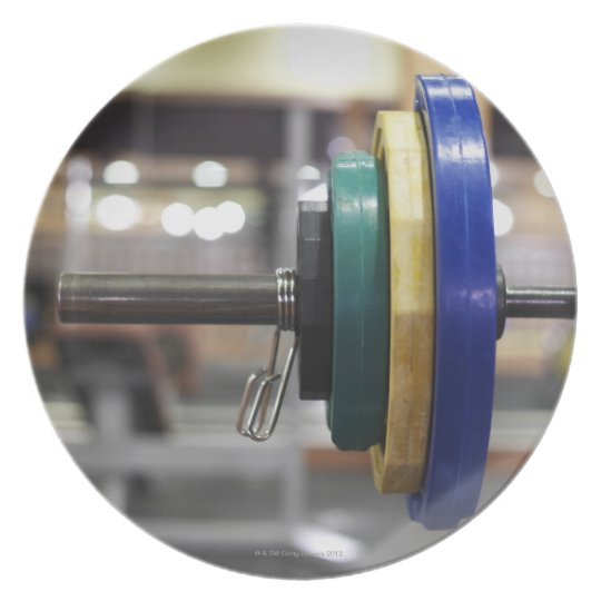 Close-up of the weights on a barbell plate