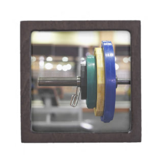 Close-up of the weights on a barbell premium trinket box