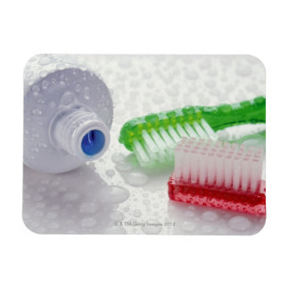 Close-up of toothpaste and toothbrushes covered rectangular photo magnet