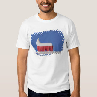 Close-up of toothpaste on a toothbrush shirt