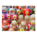 Close-up of traditional Russian nested dolls Post Card