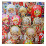 Close-up of traditional Russian nested dolls Large Square Tile