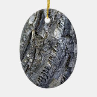Close-up of tree trunk's grey bark ceramic ornament