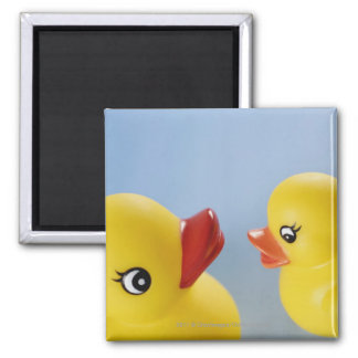 Close-up of two rubber ducks 2 inch square magnet
