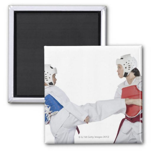 Close-up of two young women practicing 2 inch square magnet