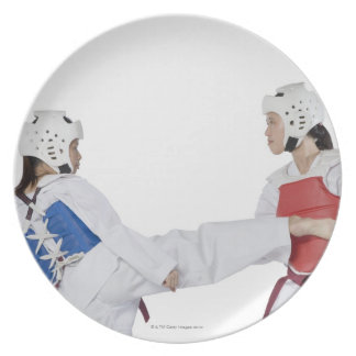 Close-up of two young women practicing melamine plate