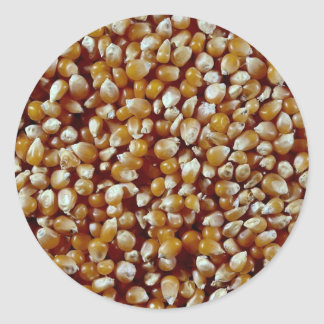 Close-up of unpopped popcorn kernels texture classic round sticker